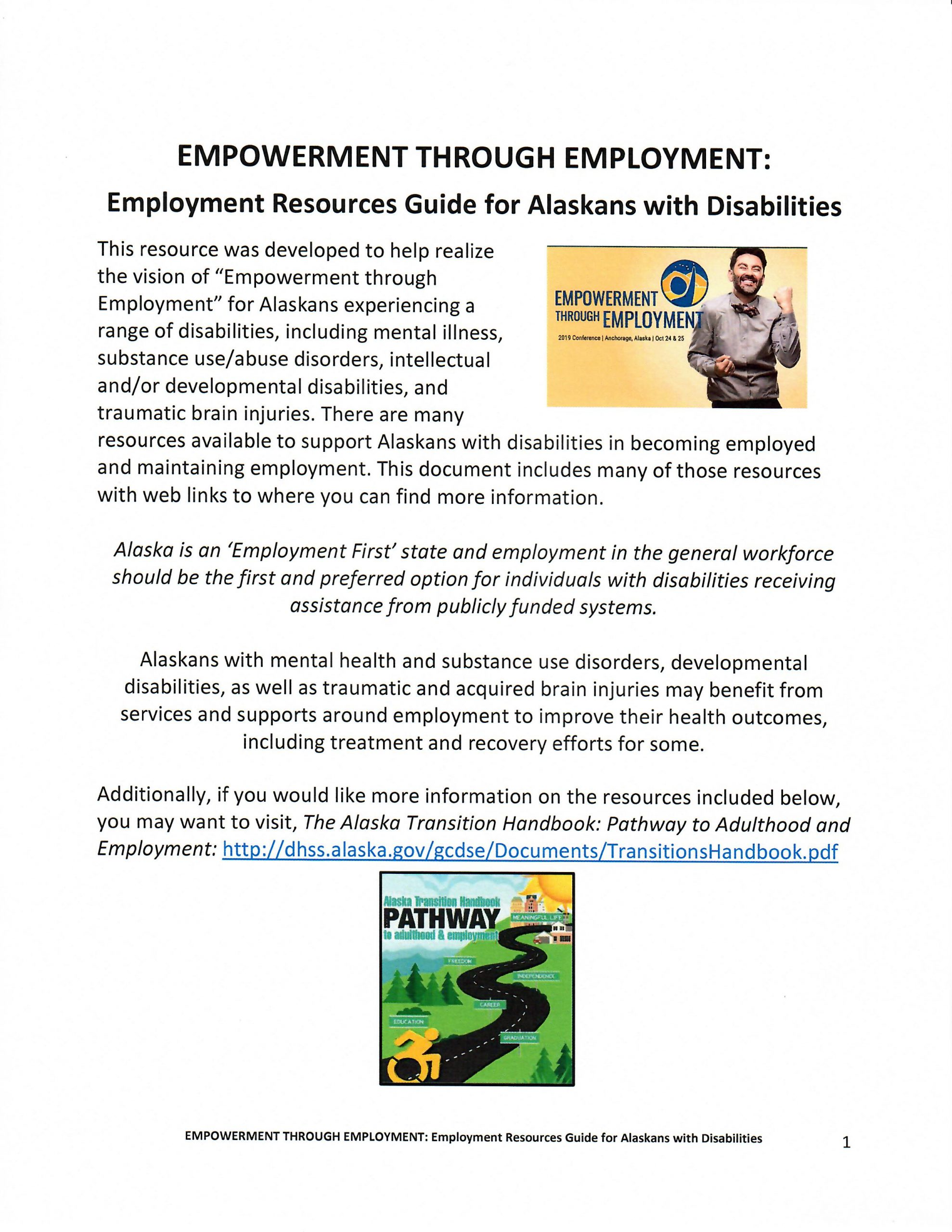 Empowerment Through Employment: Employment Resources Guide for Alaskans with Disabilities cover page
