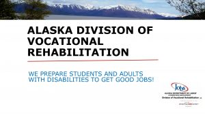 Alaska Division of Vocational Rehabilitation's page one slide from their PowerPoint presentation at the November 4, 2020 JREC Community Meeting
